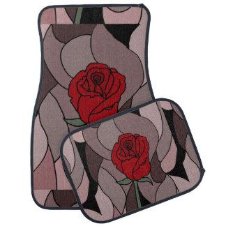 Alfombrilla De Coche Extracto floral del arte del rosa rojo