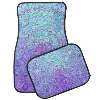 Alfombrilla De Coche Flor de la mandala en azul claro y púrpura
