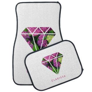 Alfombrilla De Coche flor moderna elegante de la lila del diamante