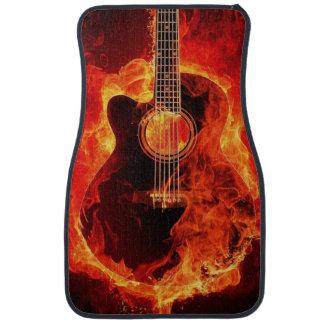 Alfombrilla De Coche Guitarra acústica llameante impresa