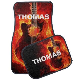 Alfombrilla De Coche Guitarra acústica llameante personalizada