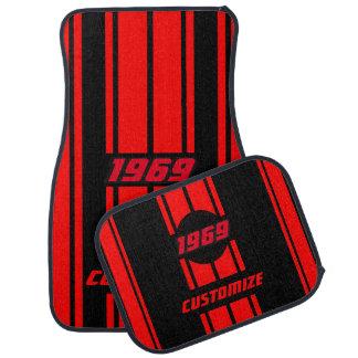 Alfombrilla De Coche La raza doble roja y negra raya el | personaliza