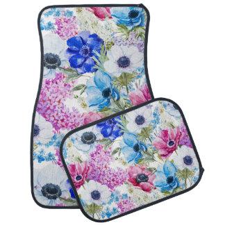 Alfombrilla De Coche Modelo de flores púrpura azul de medianoche de la