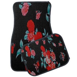 Alfombrilla De Coche Negro con las flores rosadas y rojas fijadas de 4