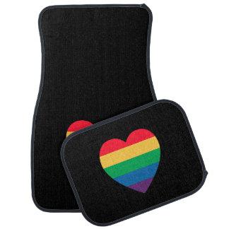 Alfombrilla De Coche Orgullo del corazón del arco iris