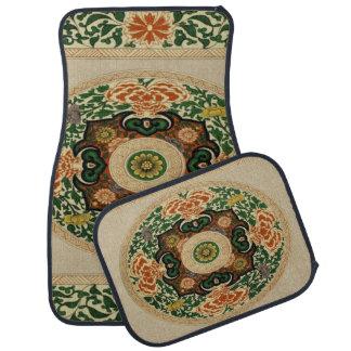 Alfombrilla De Coche Sistema de la hoja floral de la mandala del