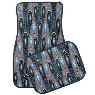 Alfombrilla De Coche Sistema iridiscente azul y gris del diseño de 4