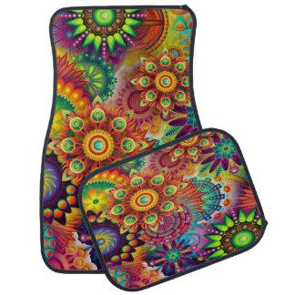 Alfombrilla De Coche Sistema psicodélico colorido del diseño de 4