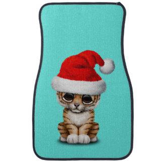 Alfombrilla De Coche Tigre Cub lindo que lleva un gorra de Santa