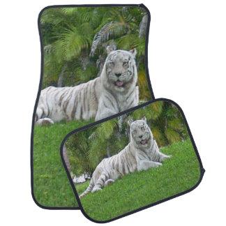 Alfombrilla De Coche Tigre y palmeras blancos sonrientes