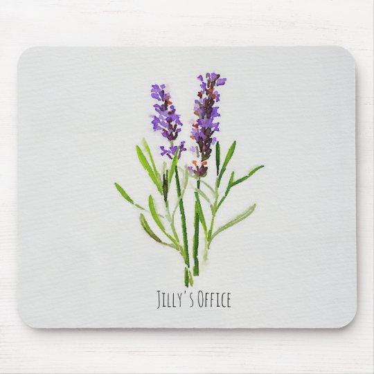Alfombrilla De Ratón Acuarela botánica de la lavanda de Jilly