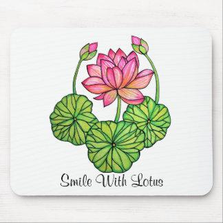 Alfombrilla De Ratón Acuarela Lotus rosado con los brotes y las hojas