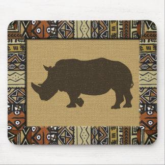 Alfombrilla De Ratón Africano Mudcloth y rinoceronte