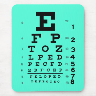 Alfombrilla De Ratón Aguamarina médica de la carta de ojo de la