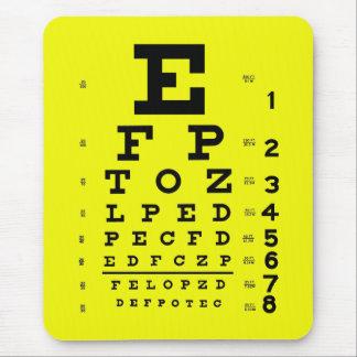Alfombrilla De Ratón Amarillo médico de la carta de ojo de la