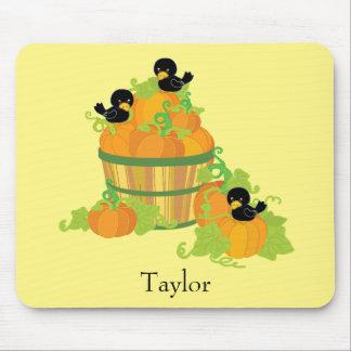 Alfombrilla De Ratón Amarillo y naranja del remiendo de la calabaza