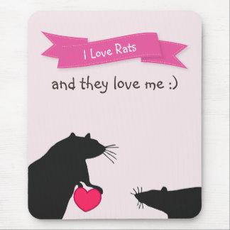Alfombrilla De Ratón Amo ratas y me aman