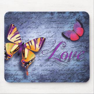 Alfombrilla De Ratón Amor colorido del vintage de la mariposa