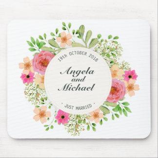 Alfombrilla De Ratón Apenas boda floral casado elegante el   Mousepad