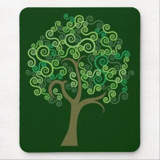 Alfombrilla De Ratón Árbol abstracto verde
