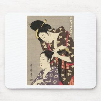 Alfombrilla De Ratón Arte para mujer de Utamaro Yuyudo Ukiyo-e de la
