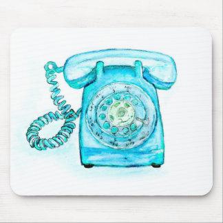 Alfombrilla De Ratón Azul rotatorio del vintage de la turquesa retra
