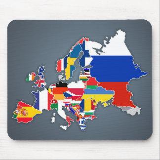 Alfombrilla De Ratón Banderas de país europeas del mapa el |
