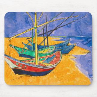 Alfombrilla De Ratón Barcos de Van Gogh en la playa de Saintes-Maries