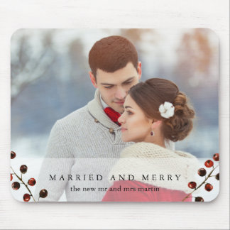 Alfombrilla De Ratón Bayas del invierno casadas y feliz foto Mousepad