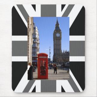 Alfombrilla De Ratón Big Ben y cabina de teléfonos roja en Londres