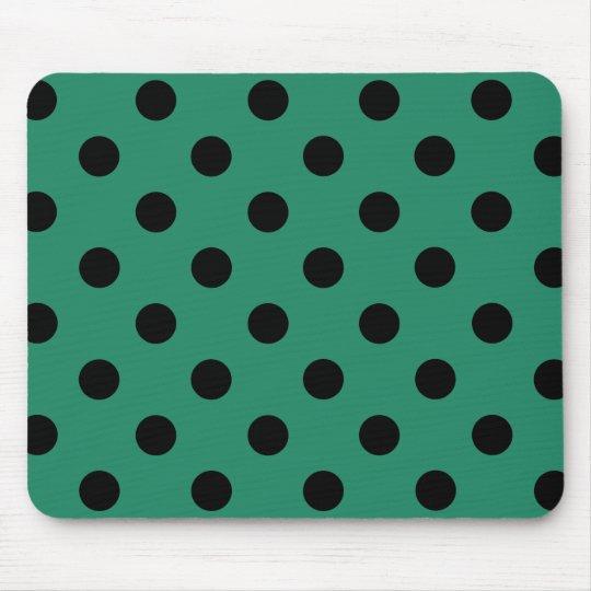 Alfombrilla De Ratón Black polka dots in green