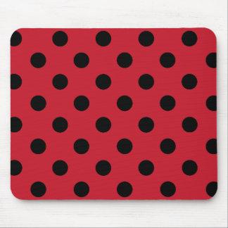 Alfombrilla De Ratón Black polka dots in red