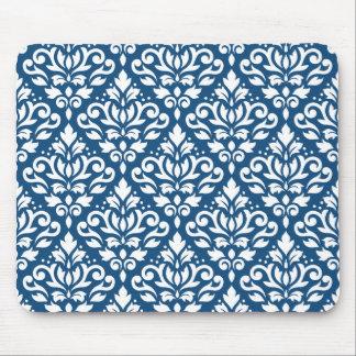 Alfombrilla De Ratón Blanco de Ptn del damasco de la voluta en azul de