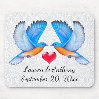 Alfombrilla De Ratón Bluebirds de la felicidad que casan Mousepad