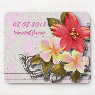 Alfombrilla De Ratón boda tropical floral del hibisco de Hawaii del