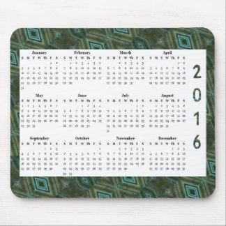 Alfombrilla De Ratón Calendario anual del modelo 2016 verde oscuro del