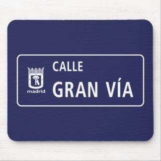 Alfombrilla De Ratón Calle Gran Vía, placa de calle de Madrid, España
