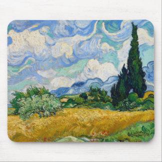 Alfombrilla De Ratón Campo de trigo de Van Gogh con los cipreses