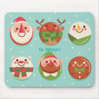 Alfombrilla De Ratón Caracteres lindos estupendos del navidad en las