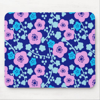 Alfombrilla De Ratón Ciruelo japonés rico del estampado de flores azul