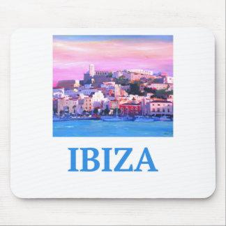 Alfombrilla De Ratón Ciudad y puerto viejos de Ibiza del poster retro