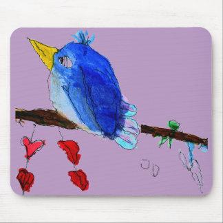 Alfombrilla De Ratón Cojín de ratón azul del pájaro