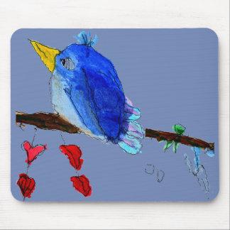 Alfombrilla De Ratón Cojín de ratón azul del pájaro - fondo azul