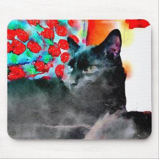 Alfombrilla De Ratón Cojín de ratón del gato negro