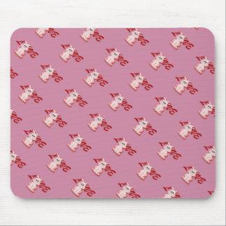 Alfombrilla De Ratón Conejo rosado feliz de la lupulización para el día