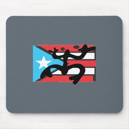 Alfombrilla De Ratón Coqui taíno sobre bandera de Puerto Rico
