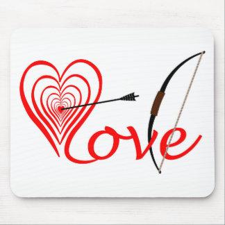 Alfombrilla De Ratón Corazón amor blanco con flecha y arco