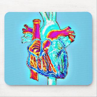 Alfombrilla De Ratón Corazón anatómico dibujado mano de neón