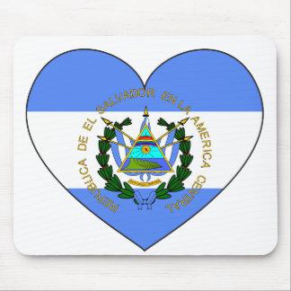 Alfombrilla De Ratón Corazón de la bandera de El Salvador