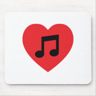 Alfombrilla De Ratón Corazón Mousepad de la nota de la música
